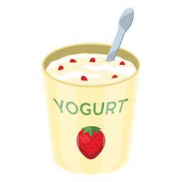 Pote de yogur de fresa