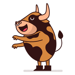 Bull standing cartoon