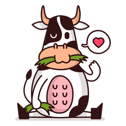Cow eating cartoon