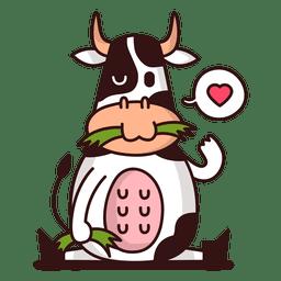 Cow eating cartoon