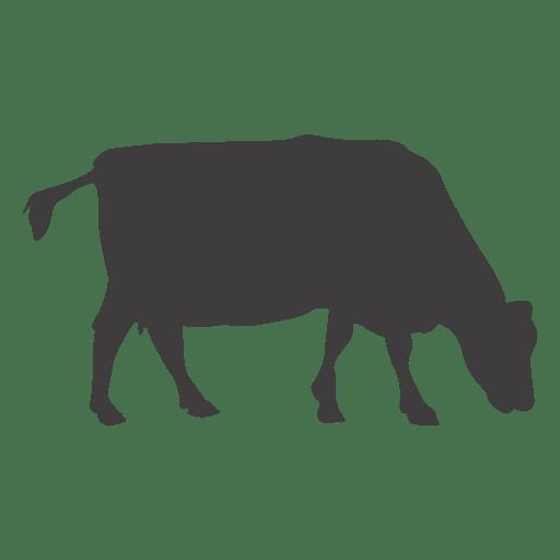 Vaca pastando silueta Transparent PNG