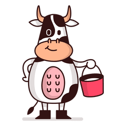 Kuh, die Milcheimerkarikatur hält