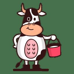 Vaca segurando desenho de balde de leite