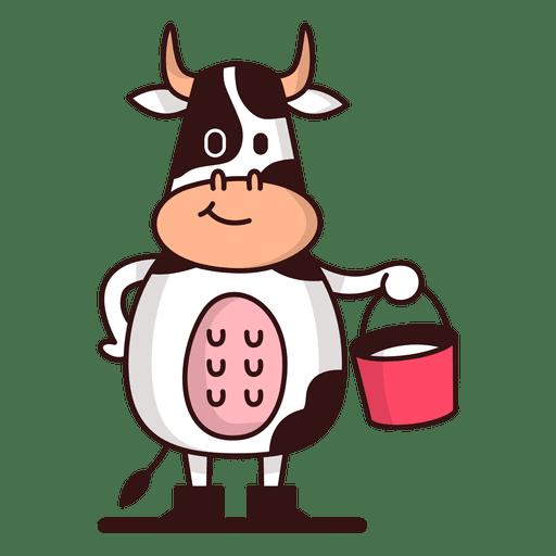 Cow holding milk bucket cartoon