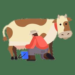Ilustração de ordenha de vaca