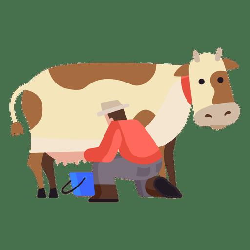 Cow milking illustration Transparent PNG