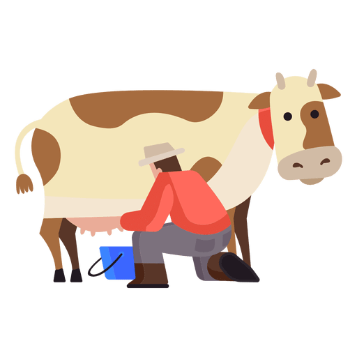 Ilustración de ordeño de vacas - Descargar PNG/SVG