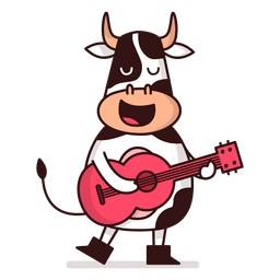 Cow playing guitar cartoon