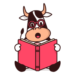 Cow reading book cartoon