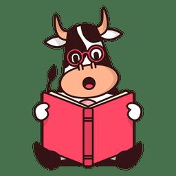 Vaca de lectura de dibujos animados libro