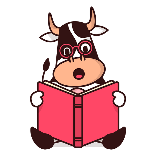 Cow reading book cartoon Transparent PNG