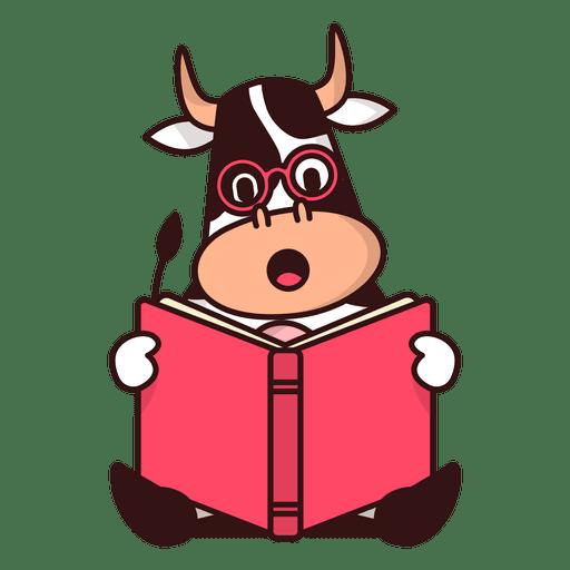 Cow reading book cartoon