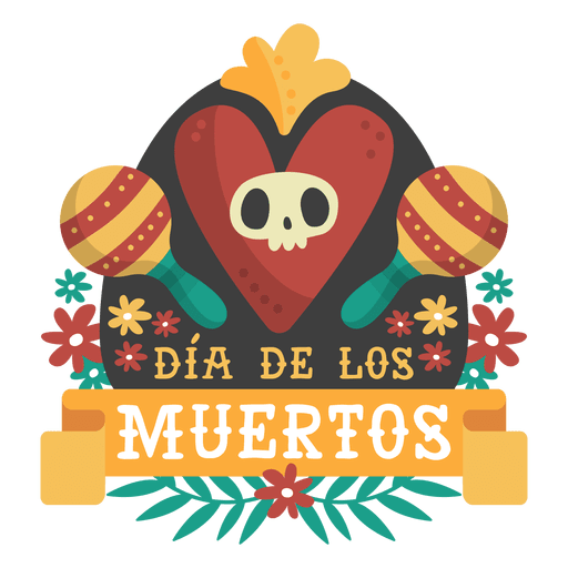 Logotipo de dia de los muertos maracas. Transparent PNG