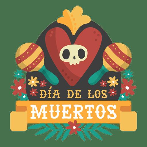 Logotipo de dia de los muertos maracas.
