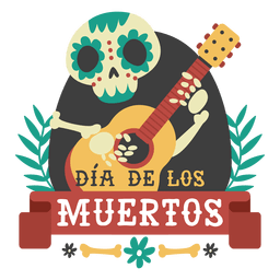 Day of the dead skeleton guitar logo