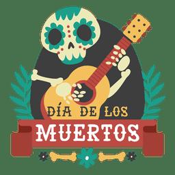 Esqueleto del dia de los muertos logo de guitarra