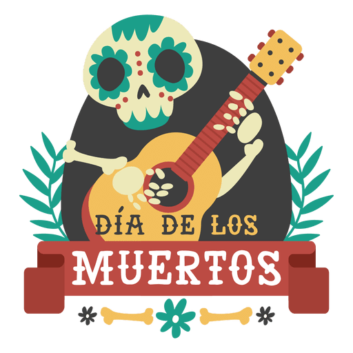 Day of the dead skeleton guitar logo Transparent PNG
