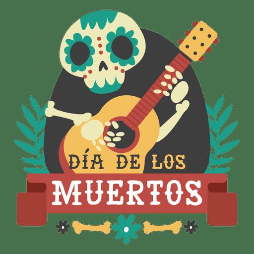 Esqueleto del dia de los muertos logo de guitarra Transparent PNG