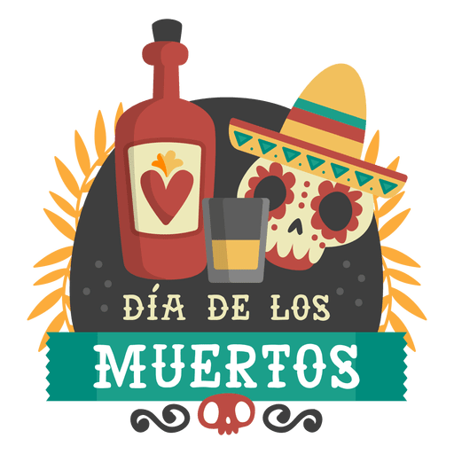 Day of the dead skull tequilla logo Transparent PNG