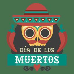 Dia de los muertos calavera con logo de sombrero