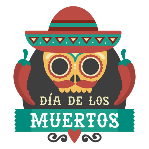 Day of the dead skull with sombrero logo Transparent PNG