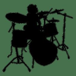 Drummer solo silhouette