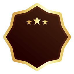 Eight point star golden badge