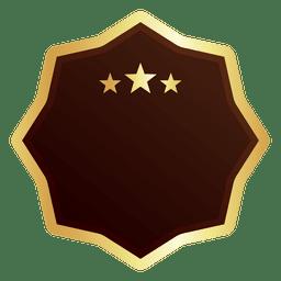 Ocho puntos estrella insignia dorada.