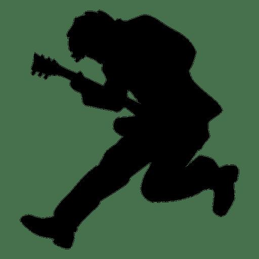 Guitarrista saltando silueta