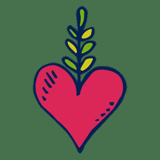 Dibujado a mano corazón día de muertos Transparent PNG