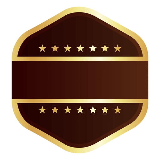 Hexagon golden badge Transparent PNG