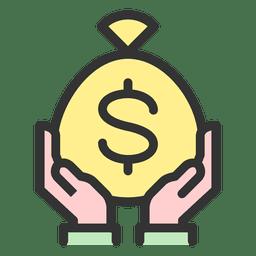 Segurando o saco de dinheiro