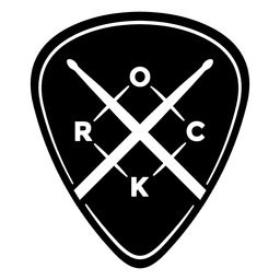 Rockmusik-Logo abgerundet