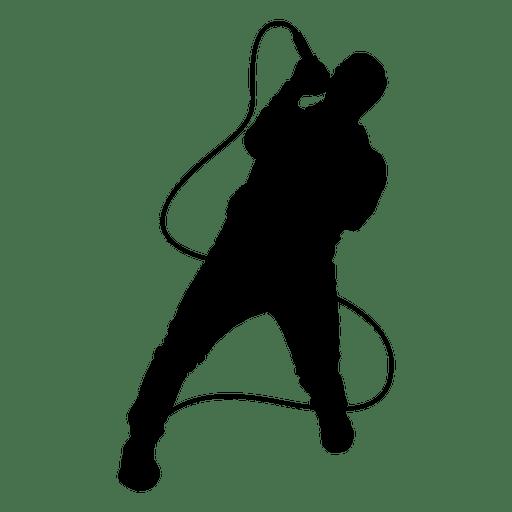 Singer singing silhouette