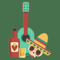 Tequilla de guitarra de caveira