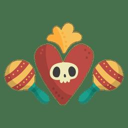 Skull with maracas