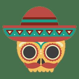 Crânio com máscara de sombrero