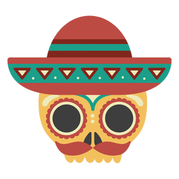 Skull with sombrero mask