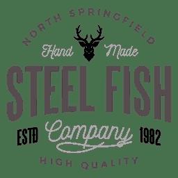Logo de pescado de acero