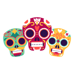 Three skulls masks