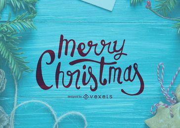Cartão de caligrafia do Feliz Natal