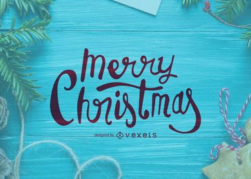Tarjeta de la caligrafía de la Feliz Navidad