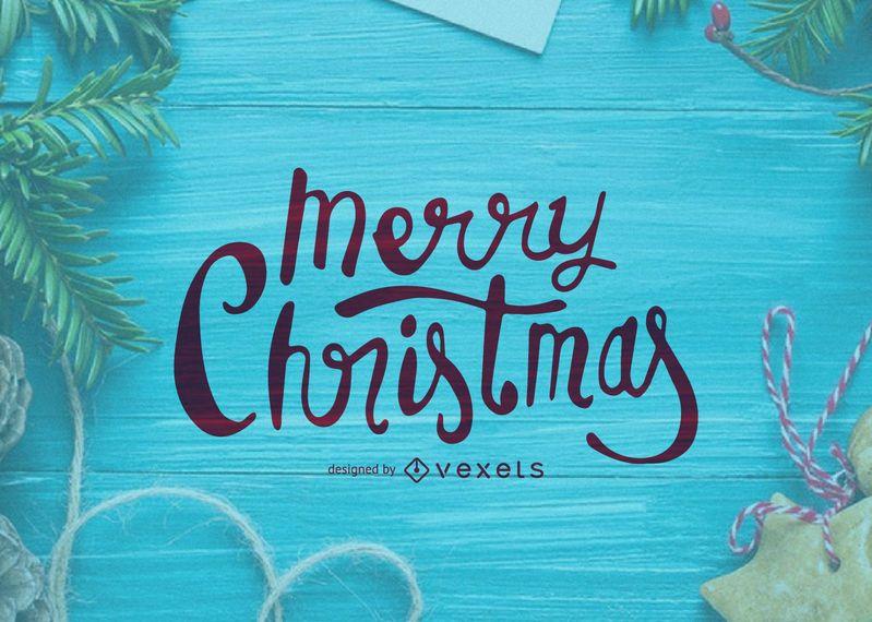Cartão de caligrafia de Natal feliz