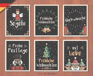 Conjunto de cartões de Natal alemão Fröhliche Weihnachten