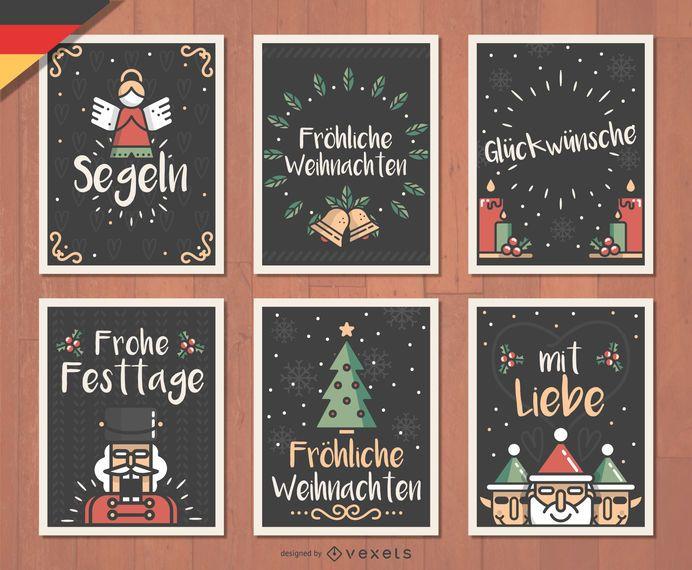 German Fr�hliche Weihnachten Christmas card set