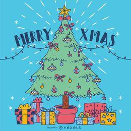 Ilustração desenhada mão da árvore de natal