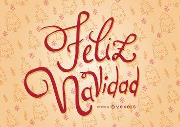 Diseño de tarjeta de la caligrafía de Feliz Navidad