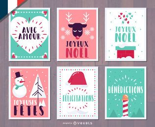French Christmas Joyeux Noel card set