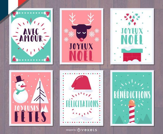 French Christmas Joyeux Noel card set