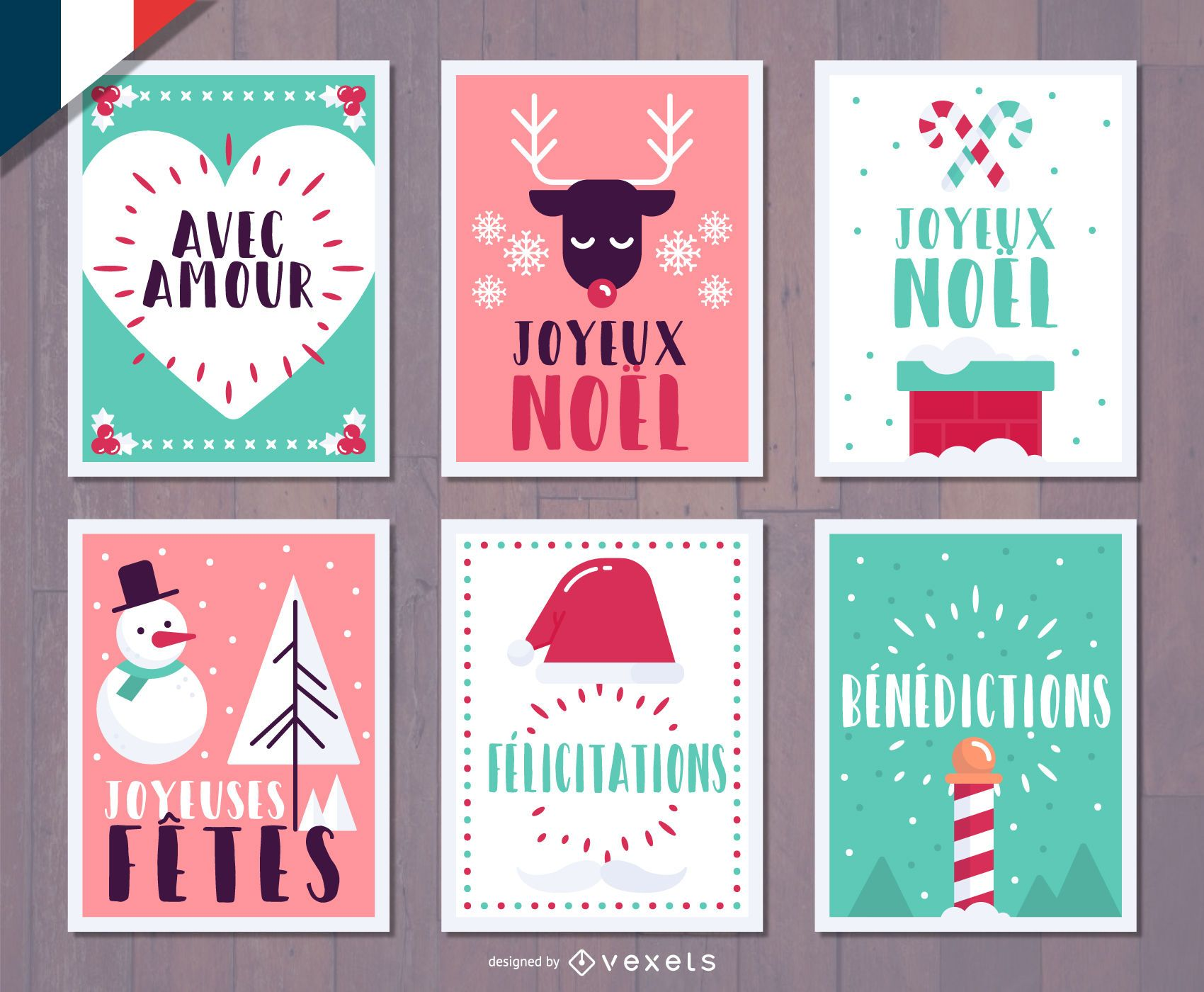 French Christmas Joyeux Noel card set - Vector download